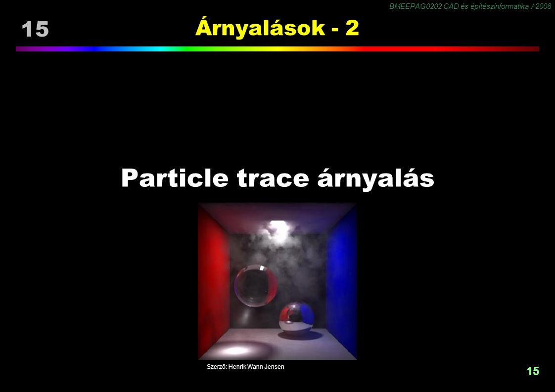 BMEEPAG0202 CAD és építészinformatika / 2008 15 Árnyalások - 2 Particle trace árnyalás Szerző: Henrik Wann Jensen