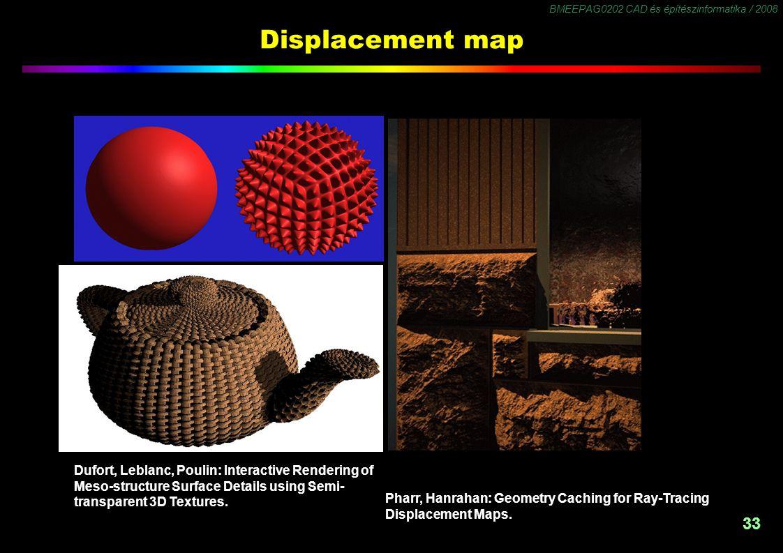 BMEEPAG0202 CAD és építészinformatika / 2008 33 Displacement map Pharr, Hanrahan: Geometry Caching for Ray-Tracing Displacement Maps. Dufort, Leblanc,