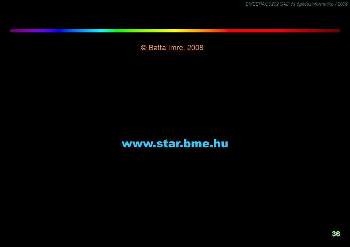 BMEEPAG0202 CAD és építészinformatika / 2008 36 © Batta Imre, 2008 -1,5 www.star.bme.hu