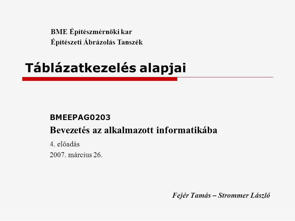 Táblázatkezelés alapjai BMEEPAG0203 Bevezetés az alkalmazott informatikába 4. előadás 2007. március 26. Fejér Tamás – Strommer László BME Építészmérnö