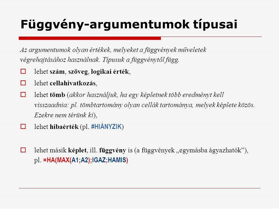 Függvény-argumentumok típusai Az argumentumok olyan értékek, melyeket a függvények műveletek végrehajtásához használnak. Típusuk a függvénytől függ. 