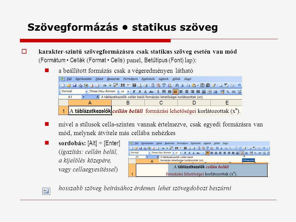 Szövegformázás statikus szöveg  karakter-szintű szövegformázásra csak statikus szöveg esetén van mód ( Formátum Cellák ( Format Cells ) panel, Betűtípus ( Font) lap): a beállított formázás csak a végeredményen látható mivel a stílusok cella-szinten vannak értelmezve, csak egyedi formázásra van mód, melynek átvitele más cellába nehézkes sordobás: [Alt] + [Enter] (igazítás: cellán belül, a kijelölés közepére, vagy cellaegyesítéssel) hosszabb szöveg beírásához érdemes lehet szövegdobozt beszúrni