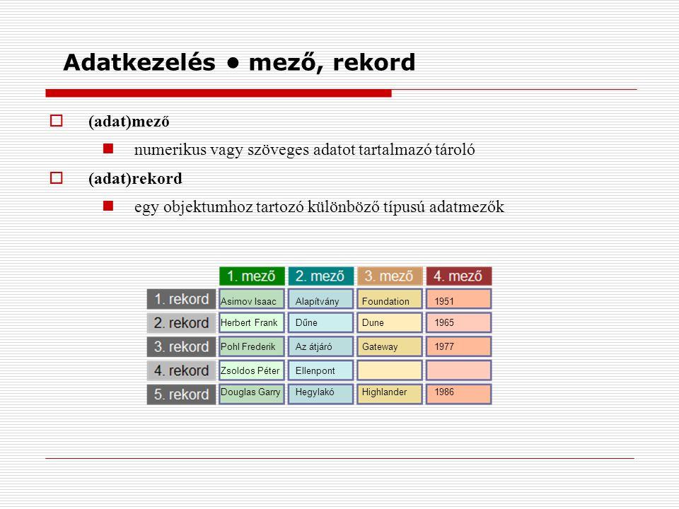  (adat)mező numerikus vagy szöveges adatot tartalmazó tároló  (adat)rekord egy objektumhoz tartozó különböző típusú adatmezők Adatkezelés mező, reko