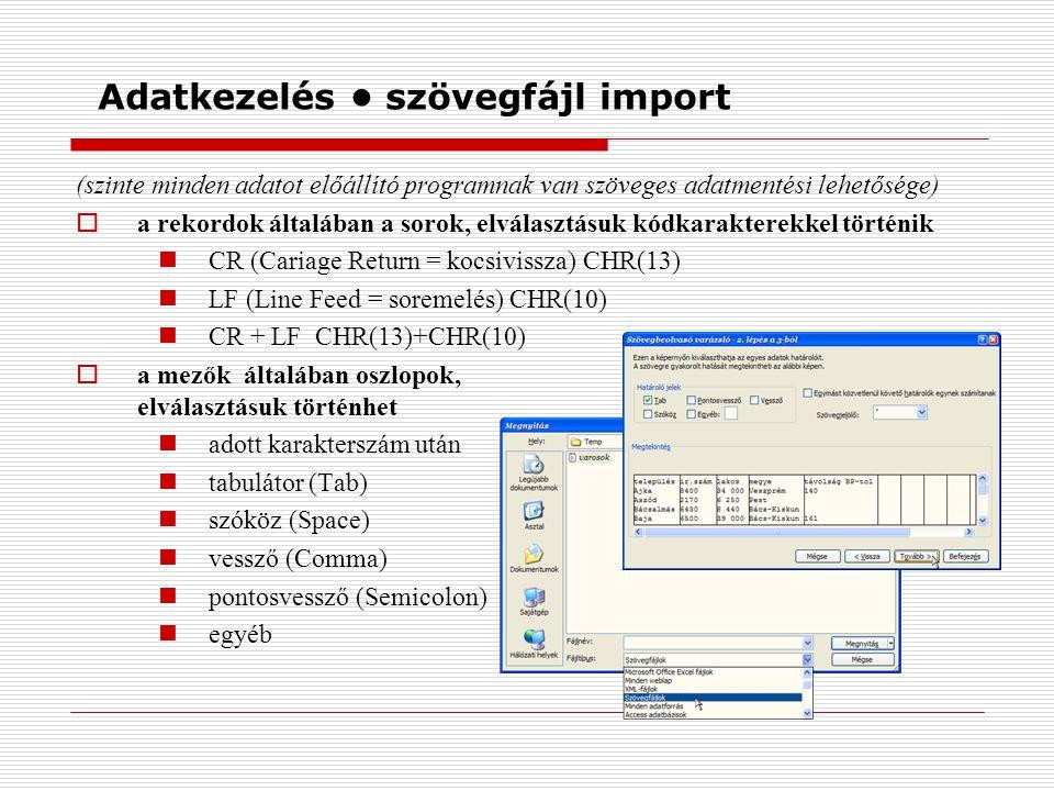 Adatkezelés szövegfájl import (szinte minden adatot előállító programnak van szöveges adatmentési lehetősége)  a rekordok általában a sorok, elválasz