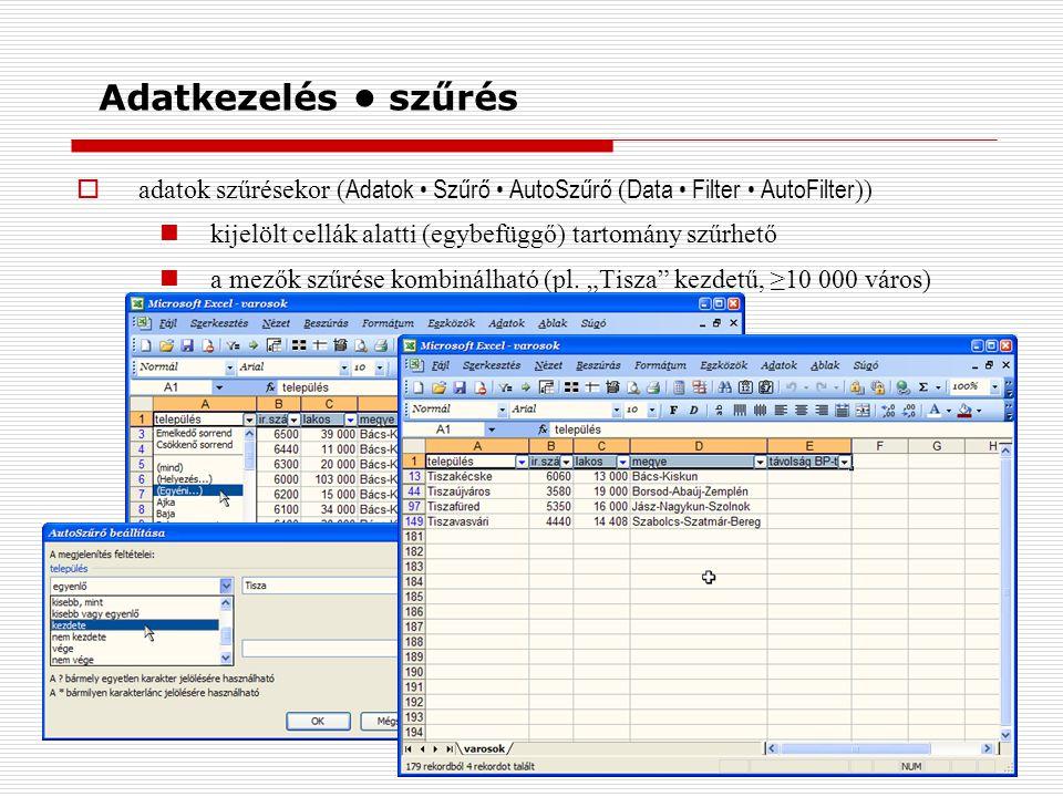 Adatkezelés szűrés  adatok szűrésekor ( Adatok Szűrő AutoSzűrő ( Data Filter AutoFilter )) kijelölt cellák alatti (egybefüggő) tartomány szűrhető a mezők szűrése kombinálható (pl.