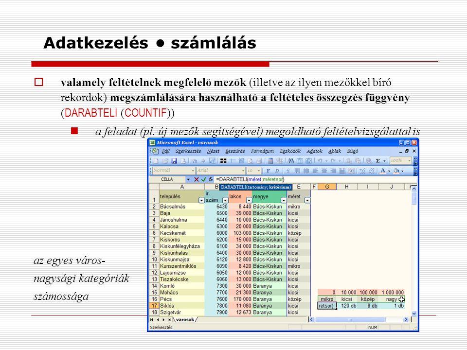 Adatkezelés számlálás  valamely feltételnek megfelelő mezők (illetve az ilyen mezőkkel bíró rekordok) megszámlálására használható a feltételes összegzés függvény ( DARABTELI ( COUNTIF )) a feladat (pl.