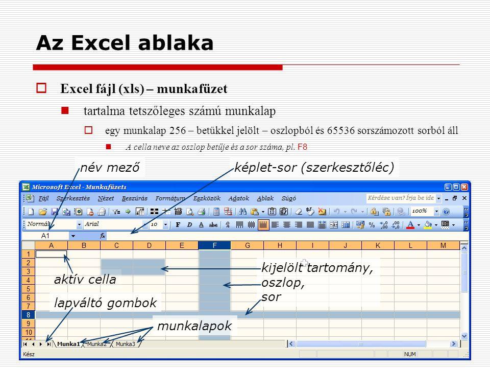 Az Excel ablaka  Excel fájl (xls) – munkafüzet tartalma tetszőleges számú munkalap  egy munkalap 256 – betűkkel jelölt – oszlopból és 65536 sorszámozott sorból áll A cella neve az oszlop betűje és a sor száma, pl.