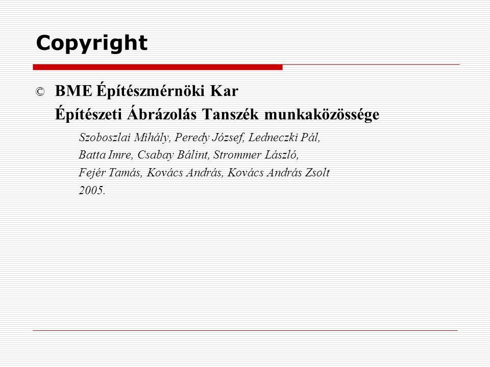 Copyright © BME Építészmérnöki Kar Építészeti Ábrázolás Tanszék munkaközössége Szoboszlai Mihály, Peredy József, Ledneczki Pál, Batta Imre, Csabay Bál