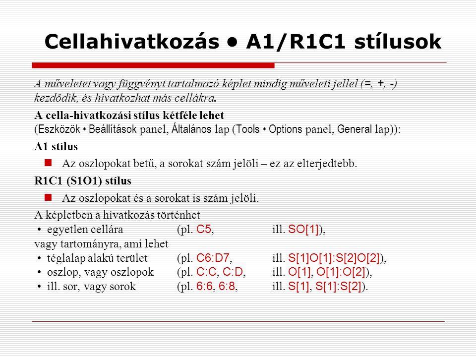 Cellahivatkozás A1/R1C1 stílusok A műveletet vagy függvényt tartalmazó képlet mindig műveleti jellel ( =, +, - ) kezdődik, és hivatkozhat más cellákra