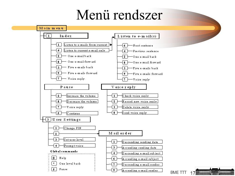 17 BME TTT Menü rendszer