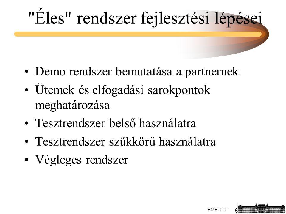 8 BME TTT Éles rendszer fejlesztési lépései Demo rendszer bemutatása a partnernek Ütemek és elfogadási sarokpontok meghatározása Tesztrendszer belső használatra Tesztrendszer szűkkörű használatra Végleges rendszer