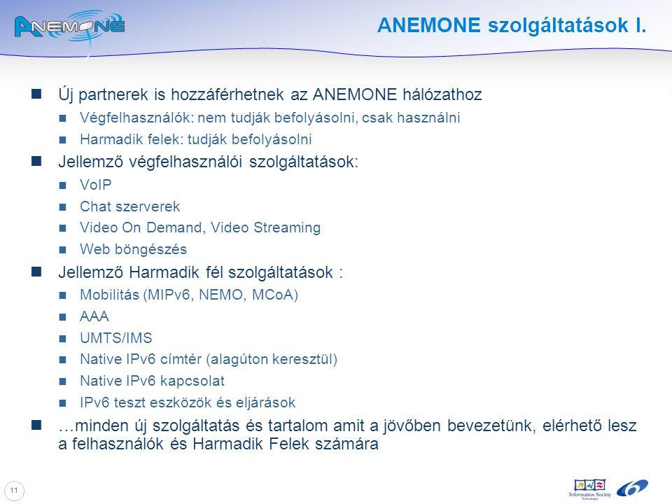11 ANEMONE szolgáltatások I. Új partnerek is hozzáférhetnek az ANEMONE hálózathoz Végfelhasználók: nem tudják befolyásolni, csak használni Harmadik fe