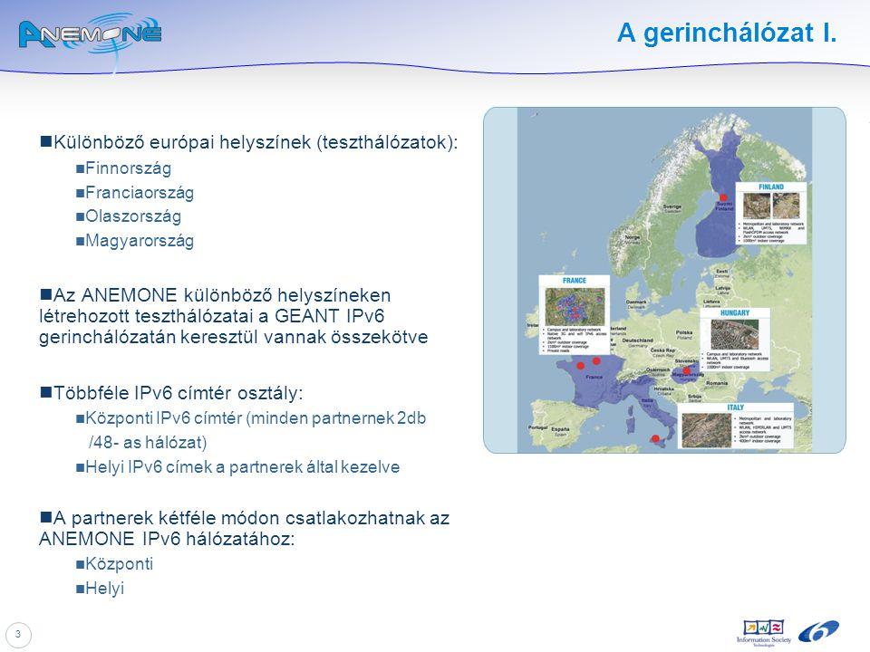 3 A gerinchálózat I. Különböző európai helyszínek (teszthálózatok): Finnország Franciaország Olaszország Magyarország Az ANEMONE különböző helyszíneke