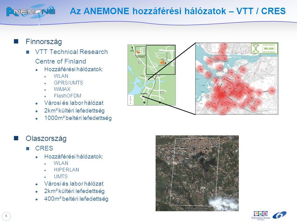 5 Az ANEMONE hozzáférési hálózatok – VTT / CRES Finnország VTT Technical Research Centre of Finland Hozzáférési hálózatok: WLAN GPRS/UMTS WiMAX FlashO