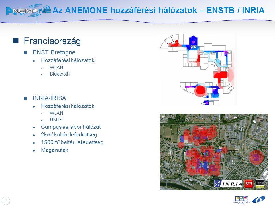 6 Az ANEMONE hozzáférési hálózatok – ENSTB / INRIA Franciaország ENST Bretagne Hozzáférési hálózatok: WLAN Bluetooth INRIA/IRISA Hozzáférési hálózatok
