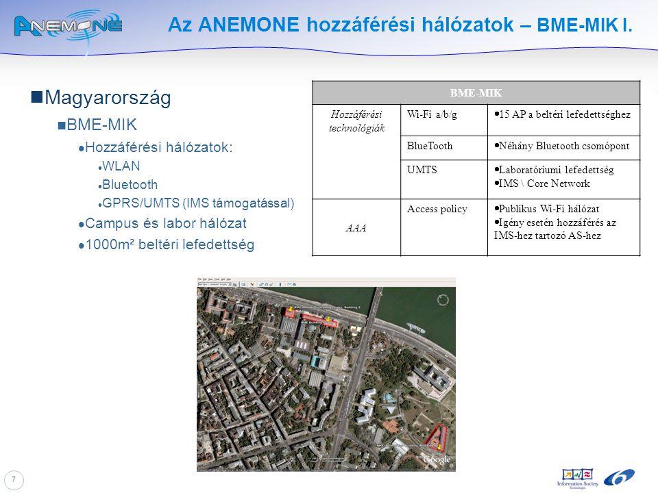 7 Az ANEMONE hozzáférési hálózatok – BME-MIK I. Magyarország BME-MIK Hozzáférési hálózatok: WLAN Bluetooth GPRS/UMTS (IMS támogatással) Campus és labo