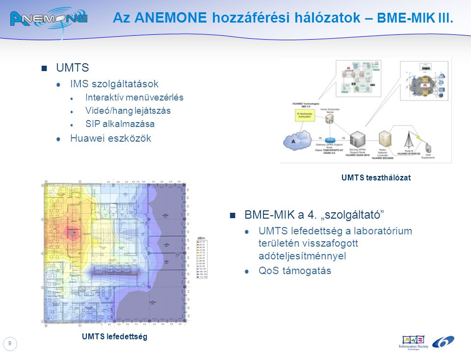 9 Az ANEMONE hozzáférési hálózatok – BME-MIK III. UMTS IMS szolgáltatások Interaktív menüvezérlés Videó/hang lejátszás SIP alkalmazása Huawei eszközök