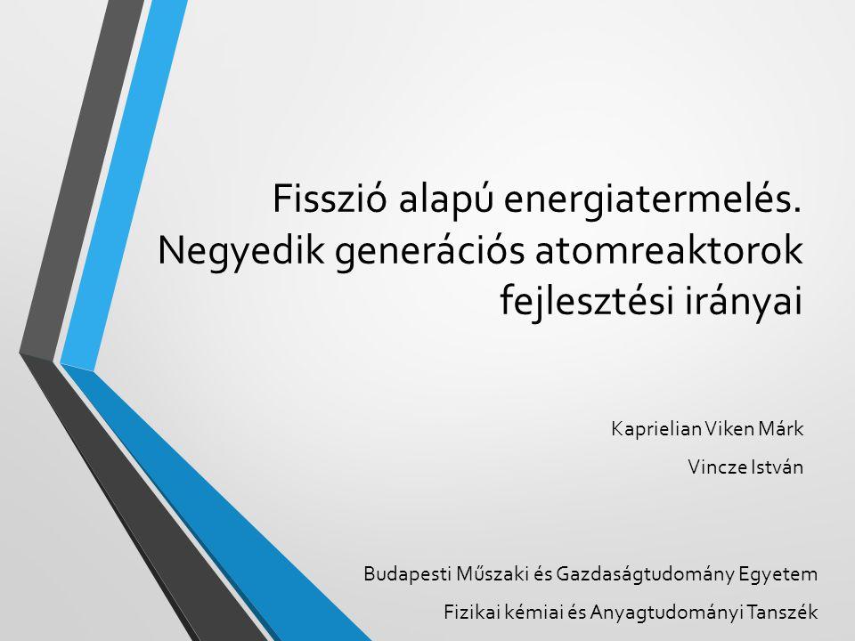 Vázlat Atommaghasadás Energiatermelés Atomreaktorok Reaktornemzedékek Negyedik generációs reaktorok Összefoglalás 2014.04.22.2