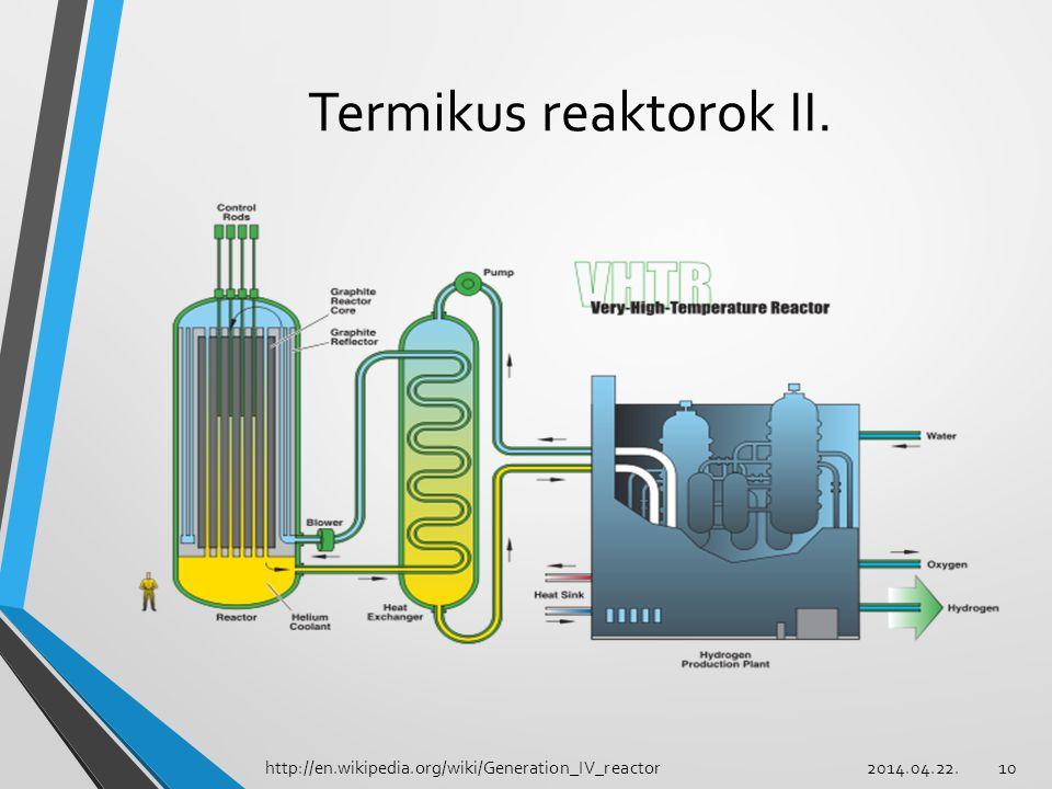10 Termikus reaktorok II. http://en.wikipedia.org/wiki/Generation_IV_reactor