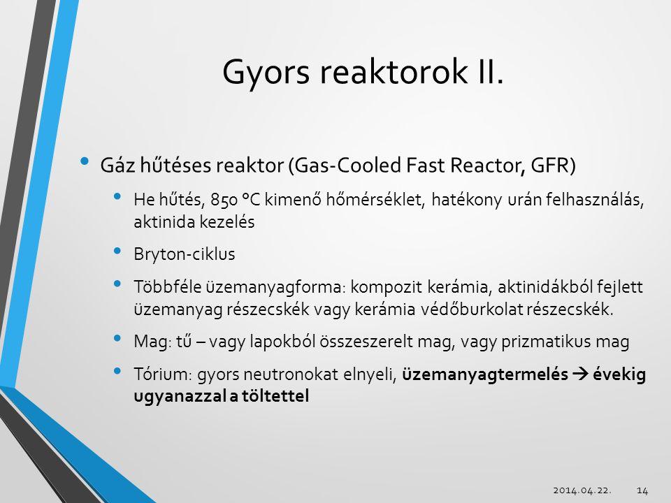 Gyors reaktorok II. Gáz hűtéses reaktor (Gas-Cooled Fast Reactor, GFR) He hűtés, 850 °C kimenő hőmérséklet, hatékony urán felhasználás, aktinida kezel