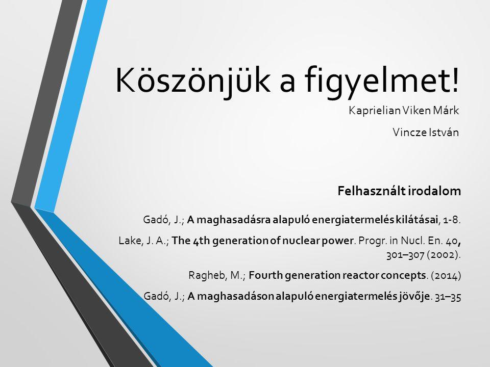 Köszönjük a figyelmet! Kaprielian Viken Márk Vincze István Felhasznált irodalom Gadó, J.; A maghasadásra alapuló energiatermelés kilátásai, 1-8. Lake,