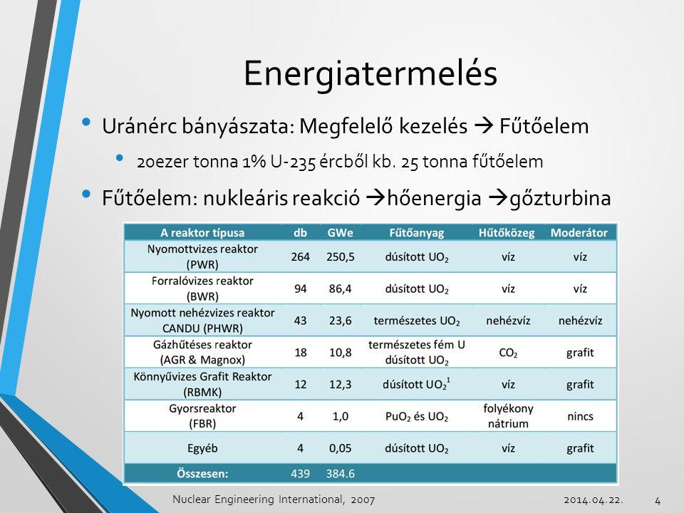 Energiatermelés Uránérc bányászata: Megfelelő kezelés  Fűtőelem 20ezer tonna 1% U-235 ércből kb. 25 tonna fűtőelem Fűtőelem: nukleáris reakció  hően