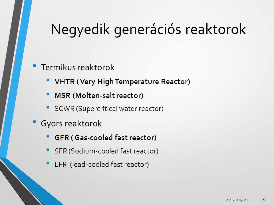 Negyedik generációs reaktorok Termikus reaktorok VHTR ( Very High Temperature Reactor) MSR (Molten-salt reactor) SCWR (Supercritical water reactor) Gyors reaktorok GFR ( Gas-cooled fast reactor) SFR (Sodium-cooled fast reactor) LFR (lead-cooled fast reactor) 2014.04.22.8