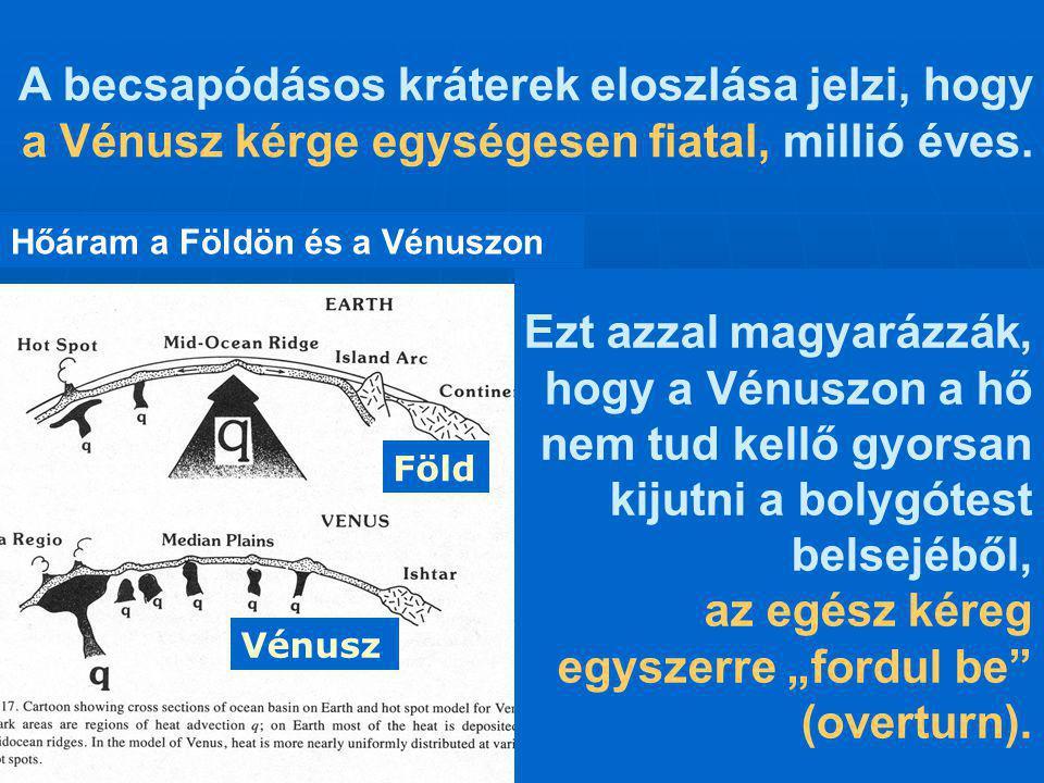 Hőáram a Földön és a Vénuszon Föld Vénusz A becsapódásos kráterek eloszlása jelzi, hogy a Vénusz kérge egységesen fiatal, millió éves. Ezt azzal magya