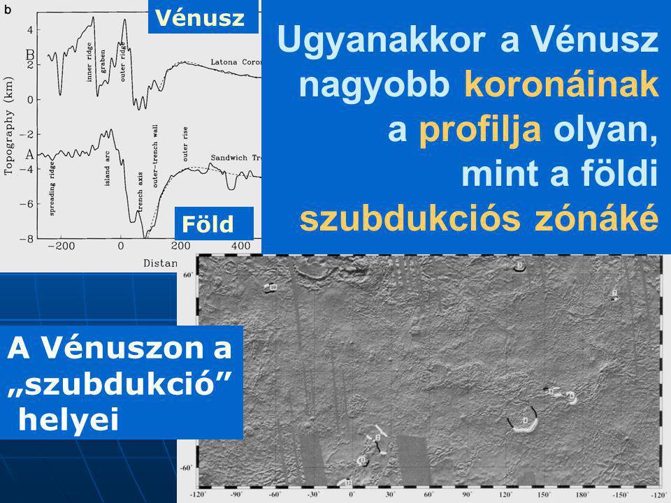 """A Vénuszon a """"szubdukció"""" helyei Ugyanakkor a Vénusz nagyobb koronáinak a profilja olyan, mint a földi szubdukciós zónáké Vénusz Föld"""
