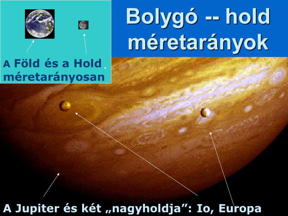 """A Jupiter és két """"nagyholdja"""": Io, Europa Bolygó -- hold méretarányok A Föld és a Hold méretarányosan"""