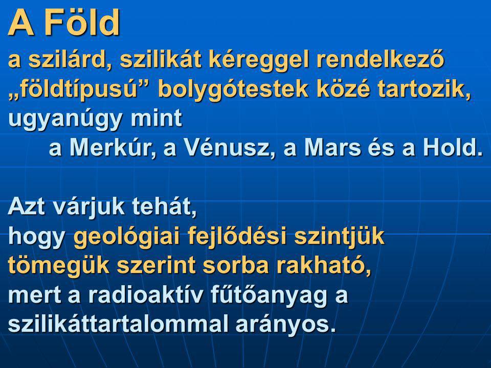"""A Föld a szilárd, szilikát kéreggel rendelkező """"földtípusú"""" bolygótestek közé tartozik, ugyanúgy mint a Merkúr, a Vénusz, a Mars és a Hold. Azt várjuk"""