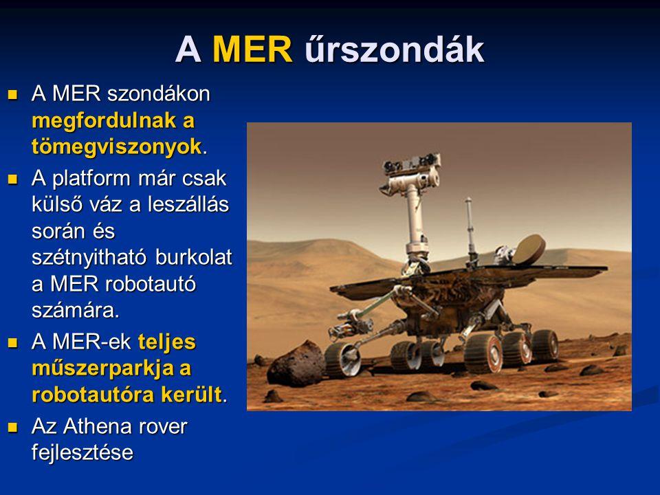A MER űrszondák A MER szondákon megfordulnak a tömegviszonyok.