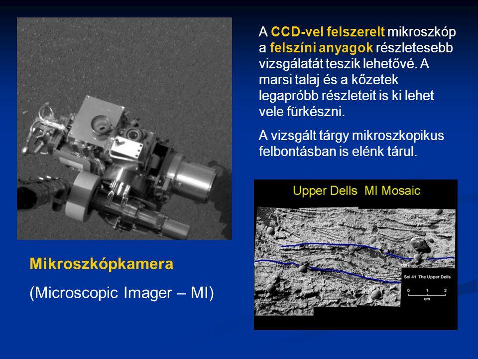 Mikroszkópkamera (Microscopic Imager – MI) A CCD-vel felszerelt mikroszkóp a felszíni anyagok részletesebb vizsgálatát teszik lehetővé.