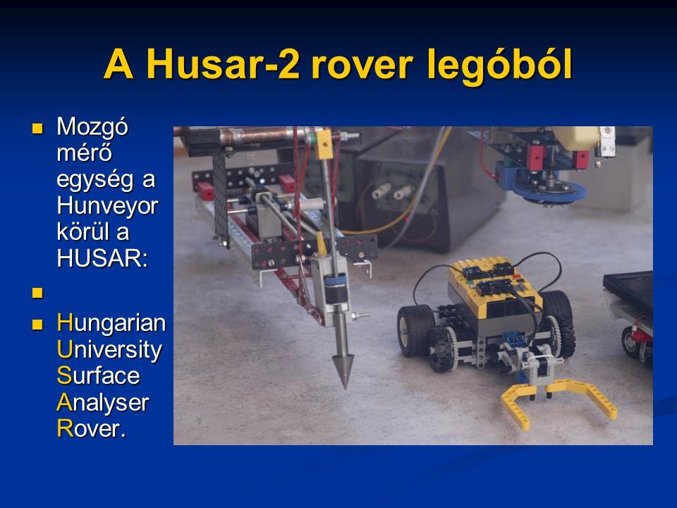 A Husar-2 rover legóból Mozgó mérő egység a Hunveyor körül a HUSAR: Mozgó mérő egység a Hunveyor körül a HUSAR: Hungarian University Surface Analyser Rover.