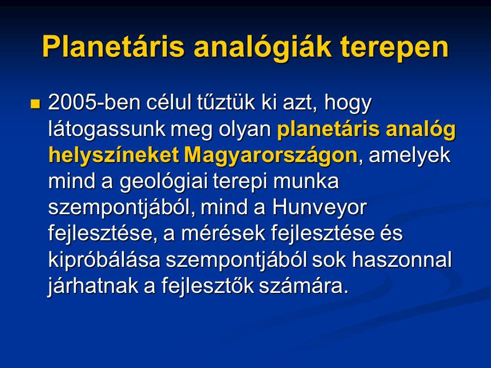 Planetáris analógiák terepen 2005-ben célul tűztük ki azt, hogy látogassunk meg olyan planetáris analóg helyszíneket Magyarországon, amelyek mind a geológiai terepi munka szempontjából, mind a Hunveyor fejlesztése, a mérések fejlesztése és kipróbálása szempontjából sok haszonnal járhatnak a fejlesztők számára.