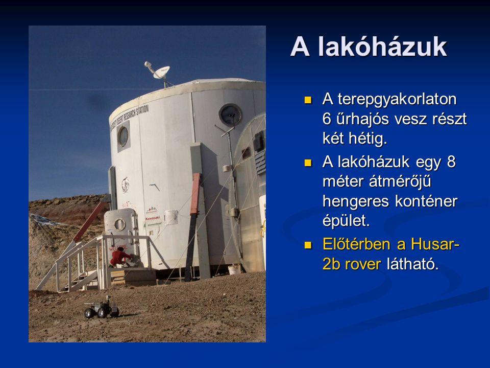 A lakóházuk A terepgyakorlaton 6 űrhajós vesz részt két hétig.