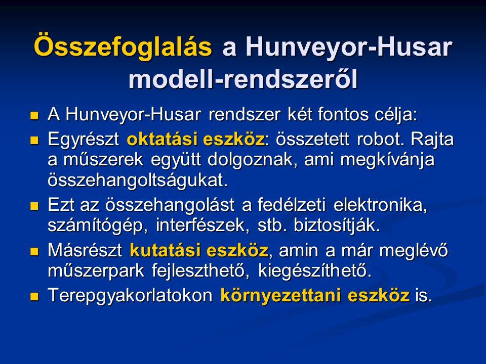 Összefoglalás a Hunveyor-Husar modell-rendszeről A Hunveyor-Husar rendszer két fontos célja: A Hunveyor-Husar rendszer két fontos célja: Egyrészt oktatási eszköz: összetett robot.