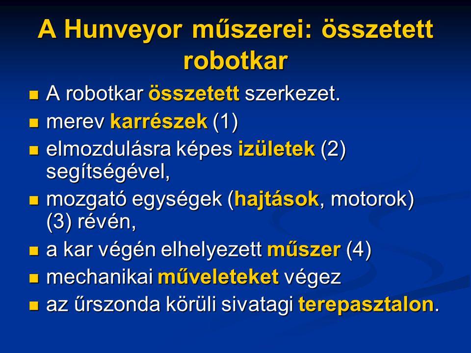 A Hunveyor műszerei: összetett robotkar A robotkar összetett szerkezet.