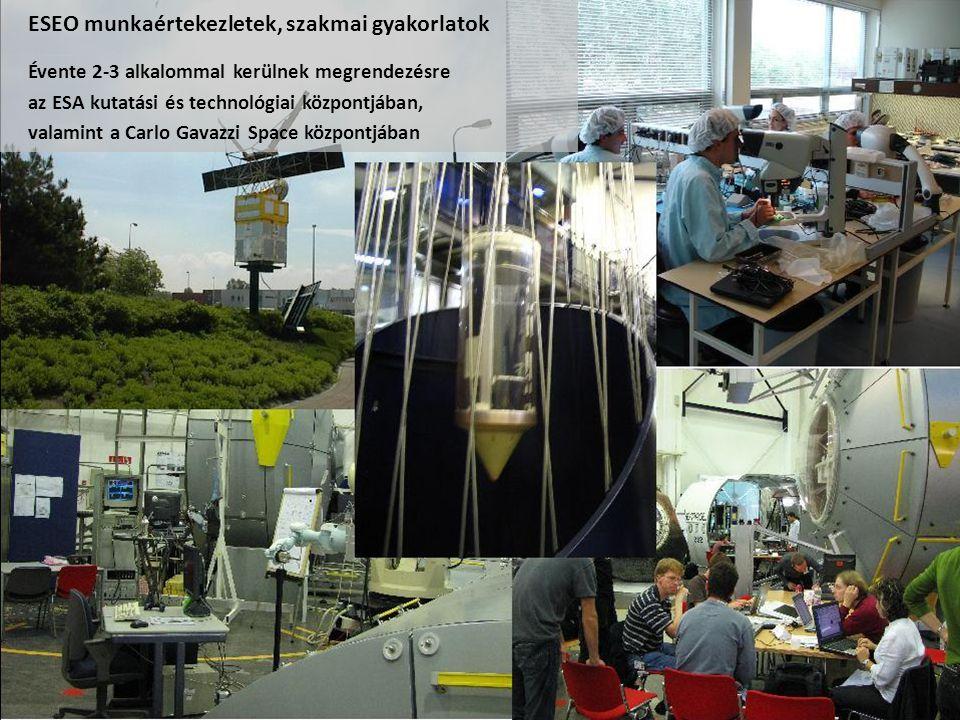 ESEO munkaértekezletek, szakmai gyakorlatok Évente 2-3 alkalommal kerülnek megrendezésre az ESA kutatási és technológiai központjában, valamint a Carlo Gavazzi Space központjában