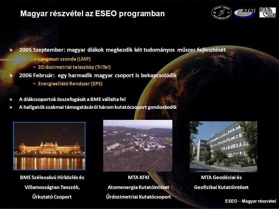 ESEO ─ Pálya adatok »Napszinkron pálya ¬ magasság: 520km ¬ LTAN 10:30 »2 földi állomás ¬ München ¬ Wellington ESEO  Magyar részvétel
