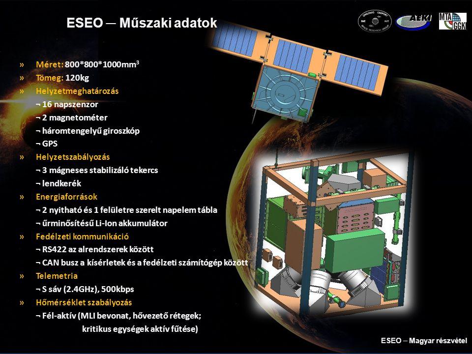 ESEO ─ Műszaki adatok »Méret: 800*800*1000mm 3 »Tömeg: 120kg »Helyzetmeghatározás ¬ 16 napszenzor ¬ 2 magnetométer ¬ háromtengelyű giroszkóp ¬ GPS »Helyzetszabályozás ¬ 3 mágneses stabilizáló tekercs ¬ lendkerék »Energiaforrások ¬ 2 nyitható és 1 felületre szerelt napelem tábla ¬ űrminősítésű Li-Ion akkumulátor »Fedélzeti kommunikáció ¬ RS422 az alrendszerek között ¬ CAN busz a kísérletek és a fedélzeti számítógép között »Telemetria ¬ S sáv (2.4GHz), 500kbps »Hőmérséklet szabályozás ¬ Fél-aktív (MLI bevonat, hővezető rétegek; kritikus egységek aktív fűtése) ESEO  Magyar részvétel