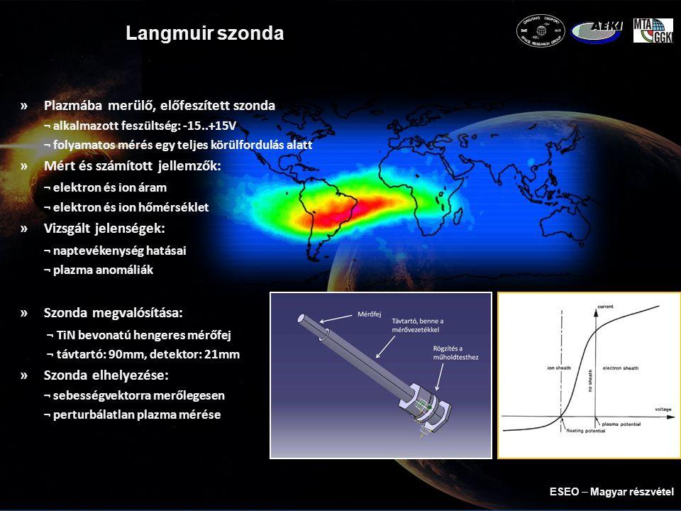 Langmuir szonda »Plazmába merülő, előfeszített szonda ¬ alkalmazott feszültség: -15..+15V ¬ folyamatos mérés egy teljes körülfordulás alatt »Mért és számított jellemzők: ¬ elektron és ion áram ¬ elektron és ion hőmérséklet »Vizsgált jelenségek: ¬ naptevékenység hatásai ¬ plazma anomáliák »Szonda megvalósítása: ¬ TiN bevonatú hengeres mérőfej ¬ távtartó: 90mm, detektor: 21mm »Szonda elhelyezése: ¬ sebességvektorra merőlegesen ¬ perturbálatlan plazma mérése ESEO  Magyar részvétel
