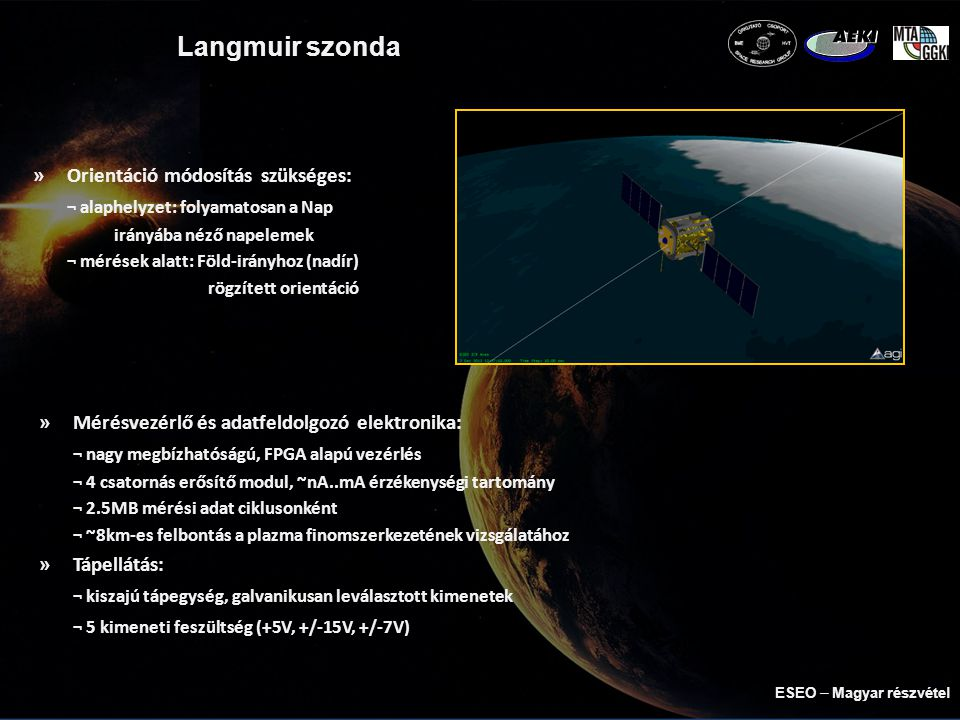 TriTel űrdozimetriai teleszkóp »3 dimenziós Si detektor teleszkóp »Vizsgált jellemzők: ¬ elnyelt dózis (mérő detektoron áthaladó részecskék) ¬ töltött részecskék LET spektruma (mindkét detektoron áthaladó részecskék) »Sugárzás károsító hatásának jellemzése ¬ műszer árnyékolása egyenértékű az asztronauták űrruhájának védelmével »Műszaki paraméterek: ¬ vastagság: 300μm ¬ aktív felület: 150mm 2 ¬ detektorok távolsága: 8.9mm ¬ látószög: 114°nyitószögű kúp a műhold két oldalán ESEO  Magyar részvétel
