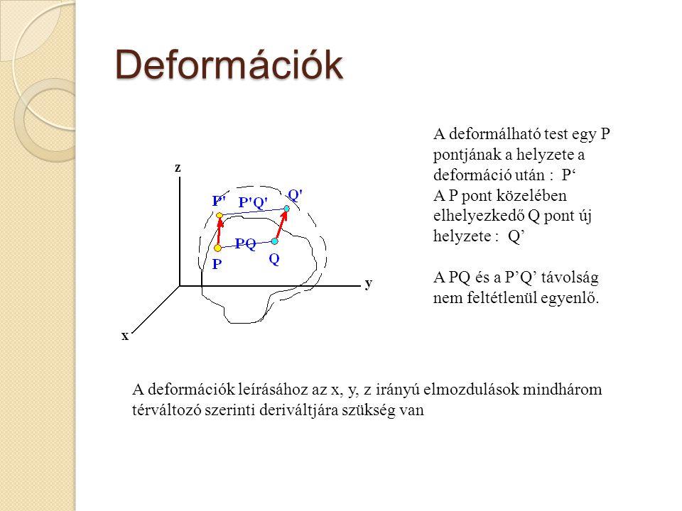 Deformációk A deformálható test egy P pontjának a helyzete a deformáció után : P' A P pont közelében elhelyezkedő Q pont új helyzete : Q' A PQ és a P'
