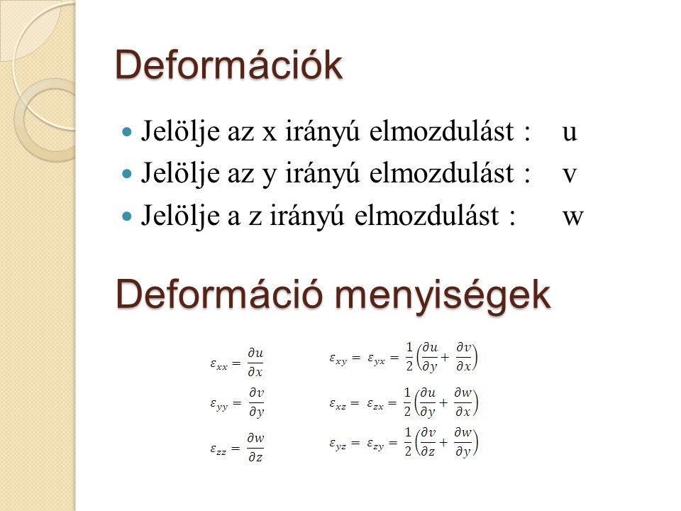 Deformációk Jelölje az x irányú elmozdulást : u Jelölje az y irányú elmozdulást : v Jelölje a z irányú elmozdulást : w Deformáció menyiségek