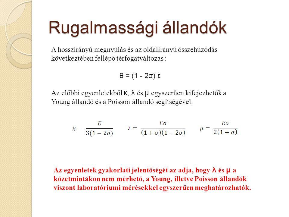 Rugalmassági állandók A hosszirányú megnyúlás és az oldalirányú összehúzódás következtében fellépő térfogatváltozás : θ = (1 - 2σ) ε Az előbbi egyenle