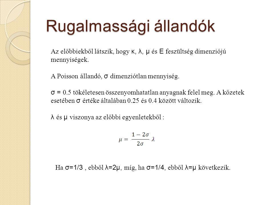 Rugalmassági állandók Az előbbiekből látszik, hogy κ, λ, μ és E feszültség dimenziójú mennyiségek. A Poisson állandó, σ dimenziótlan mennyiség. σ = 0.