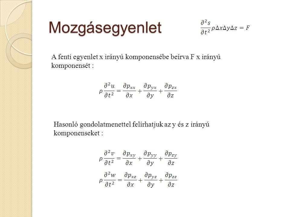 Mozgásegyenlet A fenti egyenlet x irányú komponensébe beírva F x irányú komponensét : Hasonló gondolatmenettel felírhatjuk az y és z irányú komponense