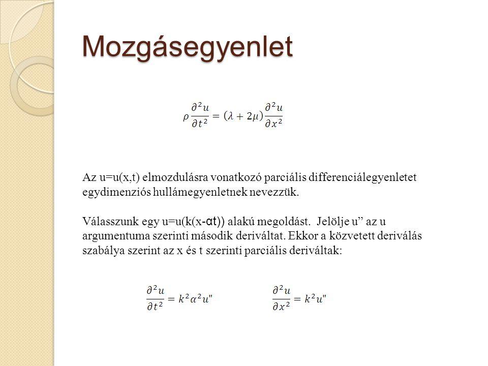 Mozgásegyenlet Az u=u(x,t) elmozdulásra vonatkozó parciális differenciálegyenletet egydimenziós hullámegyenletnek nevezzük. Válasszunk egy u=u(k(x- αt