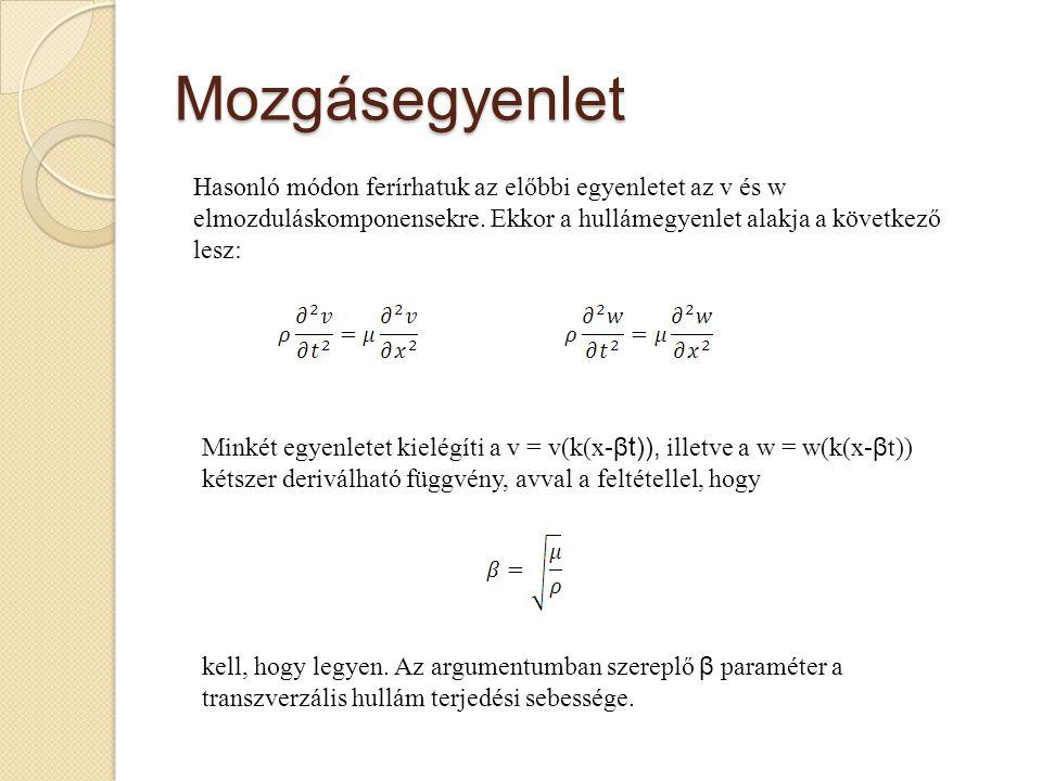Mozgásegyenlet Hasonló módon ferírhatuk az előbbi egyenletet az v és w elmozduláskomponensekre. Ekkor a hullámegyenlet alakja a következő lesz: Minkét